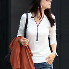 Women Long Sleeve T-Shirt Hot V Neck Zipper Front Slim Tops Blouse   [HA]