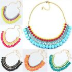Pretty Bohemian Fresh Waterdrop Fluorescent Color Bib Statement Chunky Necklace