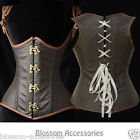 CC56 Steampunk Underbust Boned Corset Brown Retro Leather Gothic Halloween Top