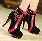 fashion women platform high heel ankle boots mixed-color decorated shoes X855
