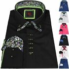 NEW MENS DESIGN SHIRT ITALIAN OFFICE SLIM FIT CONTRAST LONG SLEEVE GIFT WEDDING