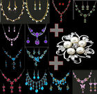 Sale Wholesale New Women's Rhinestone Crystal Pearl Necklace Earring Set