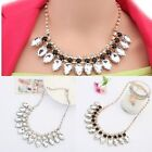 Hot Waterdrop Crystal Bubble Bib Statement Necklace Vintage Chunky Collar Party