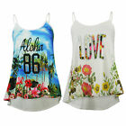NEW LADIES TROPICAL FLORAL STRAPPY CAMI SWING CAMISOLE SWING VEST SIZE SM ML