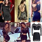 Hot Women Sexy Long Sleeve Lace Bodycon Party Pencil Cocktail Mini Black Dress