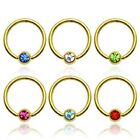 Gold Plated Captive Bead Ring / Lip / Nose / Belly / Nipple Bar with Set Gem