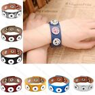 Punk Chunk Leather Buckle Bracelet Fit Buttons Poppers Snap Fastener DIY Gift