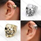 Retro Mens Punk Skull Helix Cartilage Ear Cuff Clip-on Earrings Rock Gothic Gift