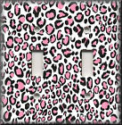 Light Switch Plate Cover - Black And Pink Leopard Print - Home Decor Animal