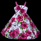 w801 u2 UkG Whites Magenta Birthday X'mas Party Flower Girls Dress 2,3,4,5,6-12y