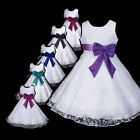 w999 z4 AuG White Red Bridesmaid Special Occasion Party Flower Girls Dress 2-12y