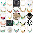 Hot Fashion Crystals Choker Chunky Statement Bib Flower Necklace Chain Jewelry