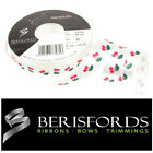 Berisfords Ribbons Satin White Cherries Cherry, Summer Party 15mm 2 Metres 13741
