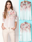 Europe Style Womens Chiffon Floral Printed Blouse Tops Button Long Sleeve Shirt
