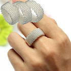 3Sizes Sterling Silver Net Ring Womens Lady Jewelry Band Wedding Bridal Gift