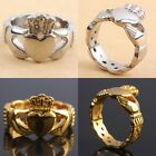 Stainless Steel Claddagh Finger Ring Hand Heart Crown LOVE Jewelry Silver Gold