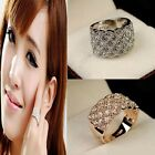 Fashion Women's Exquisite Shiny Crystal Rhinestone Wide Band Ring Silver/Gold