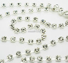 Rhinestone Chain Crystal Glass Gem Silver Metal Trim Ribbon Sparkle Diamante NEW