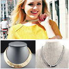 Women Punk Shiny Gold/Silver Chunky Statement Thick Curb Chain Choker Necklace