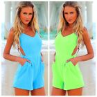 Womens Summer Sexy V-neck Celeb Backless Playsuit Beach Jumpsuit Shorts Pants-CB