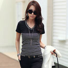 Korean Women's Striped Elastic Slim Casual Career V-Neck Tops Blouse T-shirt hot