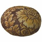 we57n Gold Brown Damask Flower Chenille Round Shape Pillow Case/Cushion Cover