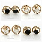 Fashion Elegant Costume Shiny Crystal Flower Stud Earrings 2 Color to Choose