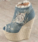 Womens Open Toe Denim Stilettos Wedge Heel Knee High Ankle Boots Shoes plus size