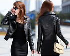 NEW Women Lady Trendy Black Motorcycle Leather Top-designed Short Jacket