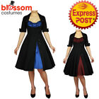 RK91 Rockabilly 50s Side Button Party Pin Up Evening Retro Swing Formal Dress