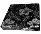 mq01t Silver Metallic Lily Black Shimmer Velvet 3D Box Seat Cushion Cover