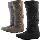 Women Casual Faux Suede Boots Comfy Slouch Straps Buckle Flat Heel Pull On Shoe