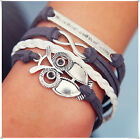 Blue Gray Infinity Owl Letter Charm Leather Cute Charm Bracelet Silver Jewelry