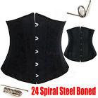 24 Steel Boned Underbust Waist Training Black Corset Bustier Top S-6XL UK6-24 H3