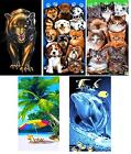 Printed Velour Beach Towel Panther Dogs Kittens Palm Beach Dolphin 70cm X 140cm