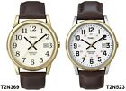 Timex Easy Reader Gold Plated Case Brown Leather Strap Gents Watch