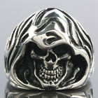 SZ 7-15 Punk Gothic Stainless Steel Skull Skeleton Death Evil Men's Finger Ring