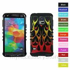Samsung Galaxy S5 Red Orange Fire Flame Hybrid Rugged Impact Armor Case Cover