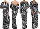 MULTI WAY REVERSIBLE PLUNGING CONVERTIBLE MAXI DRESS Off Shoulder Striped Print