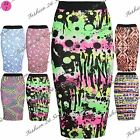 Womens Ladies High Waisted Celebrity Stretchy Wiggle Pencil Bodycon Midi Skirt