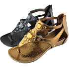 Women Gladiator Flats Rhinestone Ankle Buckle Thong Sandals Shoes