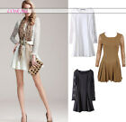 Womens Elegant Party Cocktail Slim Lace Long Sleeve Skirt Skater Mini Dress New