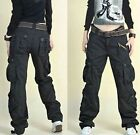 Womens Military Army dance loose Cargo Pocket Pants Leisure Trousers Outdoor