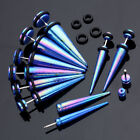 2pcs Illusion Dark Blue Acrylic Taper Spike Fake Cheater Ear Stud Plug Earrings