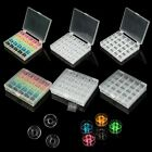25 Cells Plastic Clear/Colorful Bobbin with Clear Spools Box f. Sewing Machine