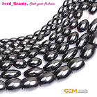 "Magnetic  Black Olivary Hematite Natural Stone Beads Strand 15"" Size Selectable"