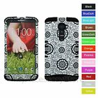 Verizon LG G2 VS980 Flower Design Hybrid Rugged Impact Armor Phone Case Cover
