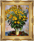 Framed Canvas Jerusalem Artichoke Flowers Claude Monet Painting Repro Art Print