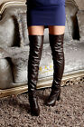 Sexy Womens Round Toe Over Knee Thigh High Boots Zipper Knight Platform Shoes