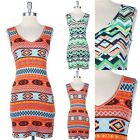 Multi Color Geometric and Stripes Mixed Print V Neck Dress Thigh Length S M L